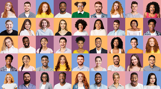 Set Of Happy Young Faces And Millennial People Portraits On Different Colored Backgrounds. Panorama