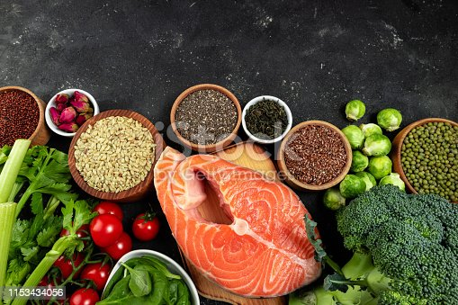istock Set of healthy food flat lay. Selection of healthy eating fish, vegetables, beans, antioxidants and sources of omega 3. Healthy food for heart, diet, ketogenic diet and healthy lifestyle concept 1153434056