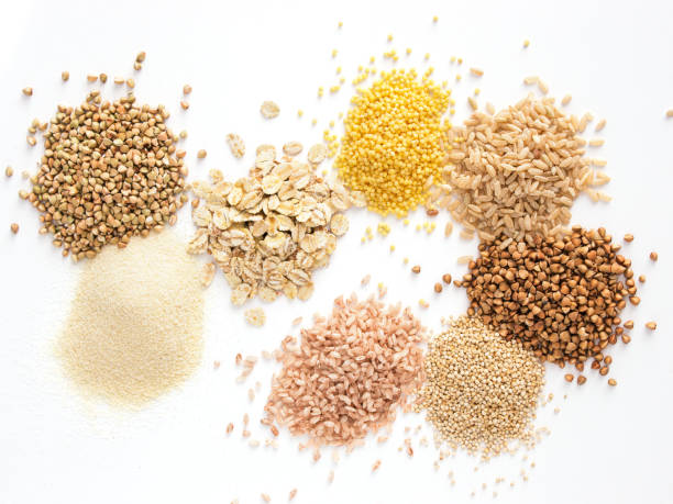 Set of heap various grains and cereals isolated stock photo