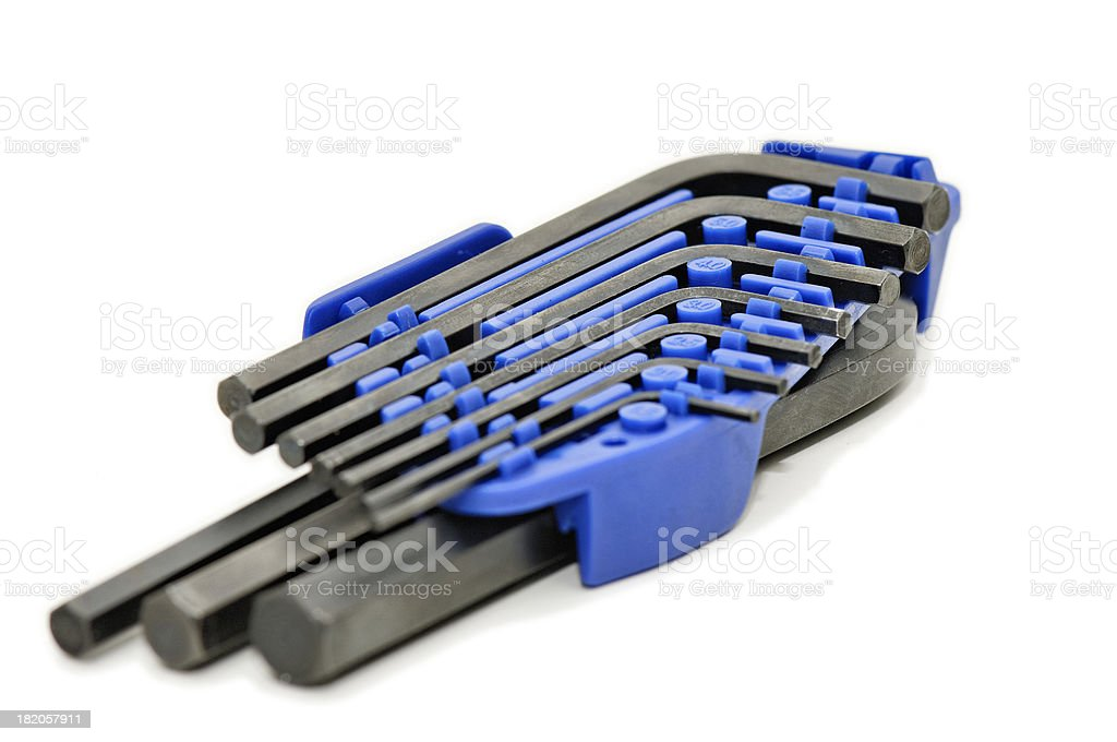 Set of hex Allen keys royalty-free stock photo