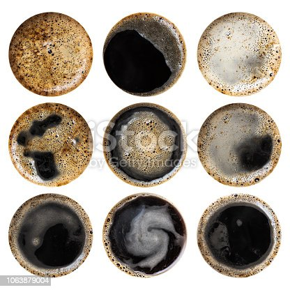 Set of high resolution black coffee textures isolated on white background