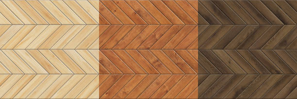 Set of high resolution seamless textures of wooden parquet. Chevron patterns stock photo