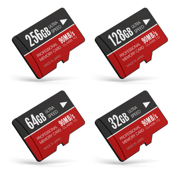 set of high speed microsd flash memory cards - memory card stock photos and pictures