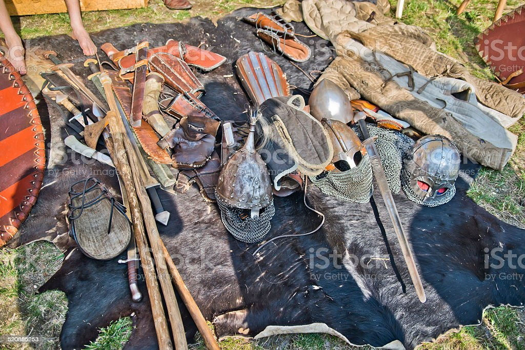Set of historical slavic weapons and armors stock photo