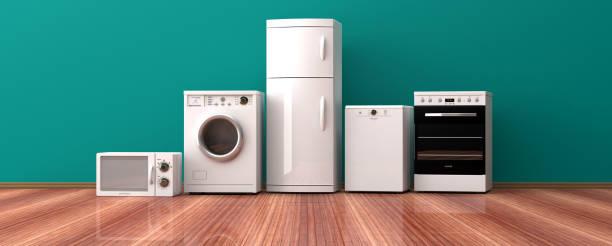 set van huishoudelijke apparaten op een houten vloer. 3d illustratie - huishoudelijk apparaat stockfoto's en -beelden