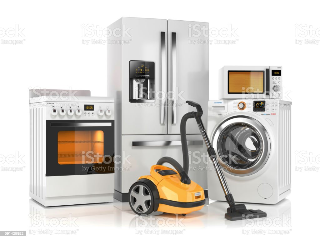 Set of home appliances. Refrigerator, washing machine, microwave oven, stove and vacuum cleaner stock photo