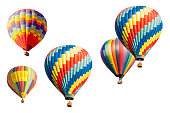 Colorful Set of Hot Air Balloons Isolated on a White Background.