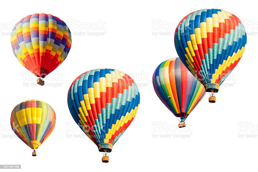 Set of Hot Air Balloons on White stock photo