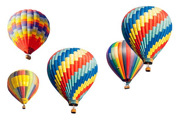 ensemble de hot air balloons sur blanc - montgolfière photos et images de collection