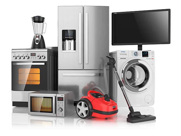 satz von haushalt küchengeräten - freizeitelektronik stock-fotos und bilder