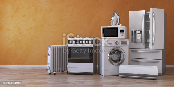 istock Set of household kitchen technics on yellow background. Set of appliance in the new appartments. E-commerce online internet store and delivering of appliance concept. 1025966854