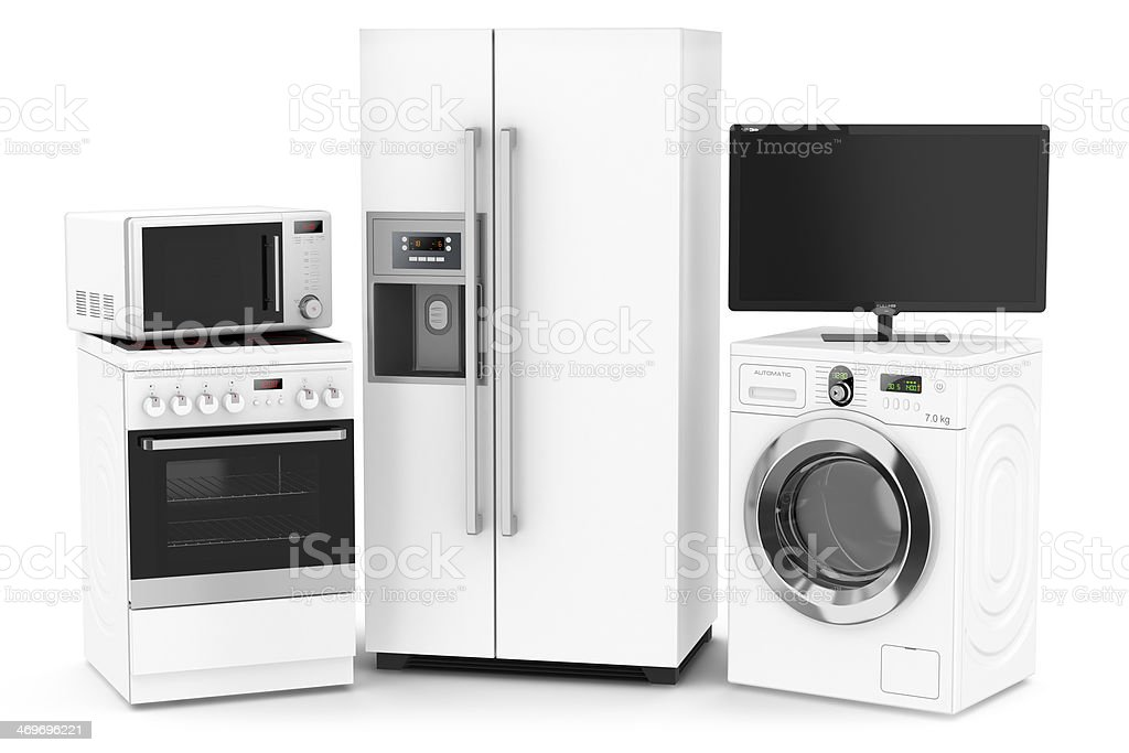 Set of household technics stock photo