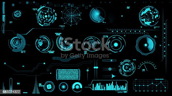 istock Set of hud interface on black backgrounds 683274322