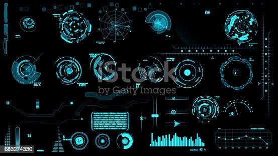 istock Set of hud interface on black backgrounds 683274330