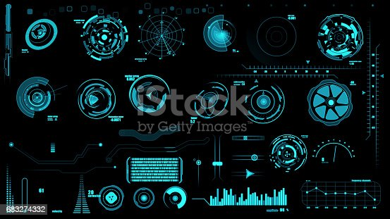 istock Set of hud interface on black backgrounds 683274332