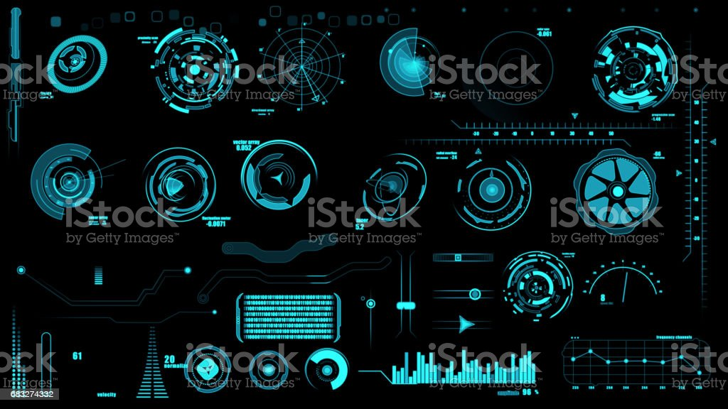Set of hud interface on black backgrounds stock photo