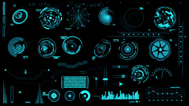 Set of hud interface on black backgrounds stock photo