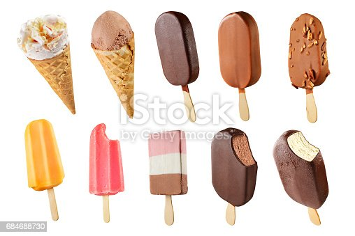 Set of difrent ice creams isolated on white background