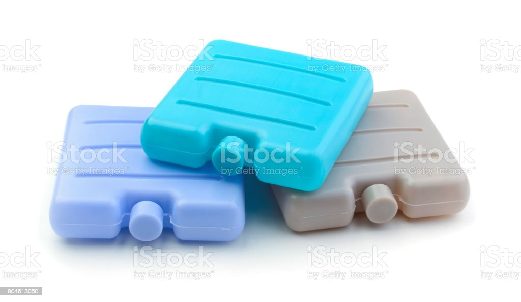 Set of ice packs isolated stock photo