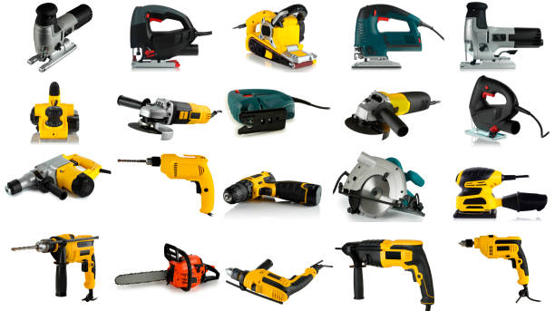 set of images of tools - drill stock photos and pictures