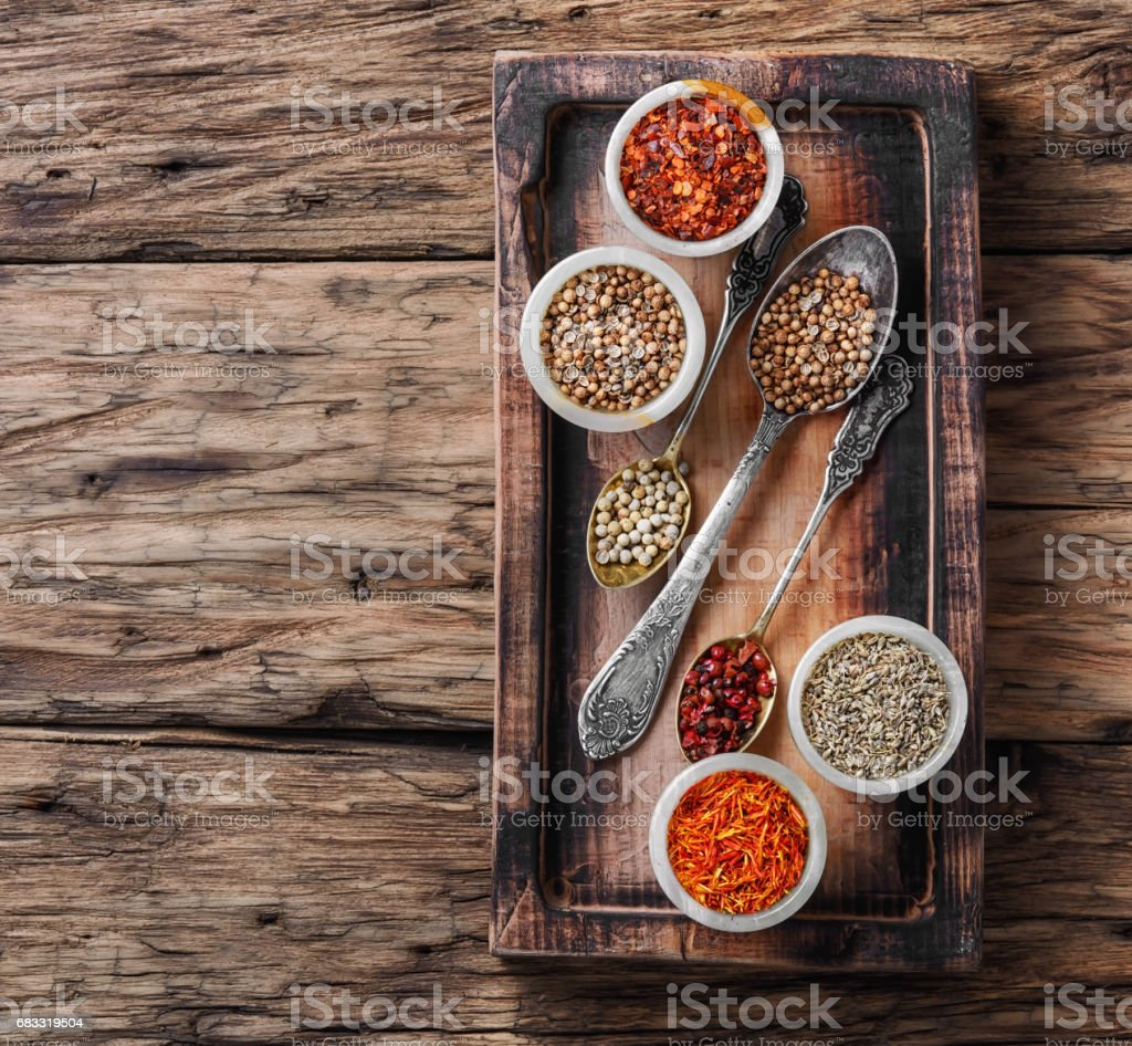 set of Indian spices peppers royalty-free stock photo
