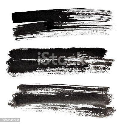 istock Set of ink black brush strokes 850235528