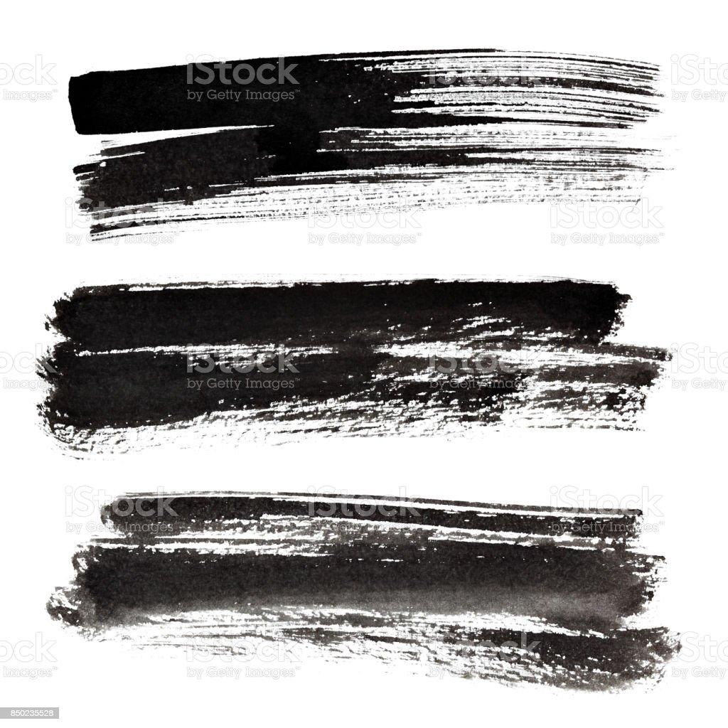 Set of ink black brush strokes stock photo