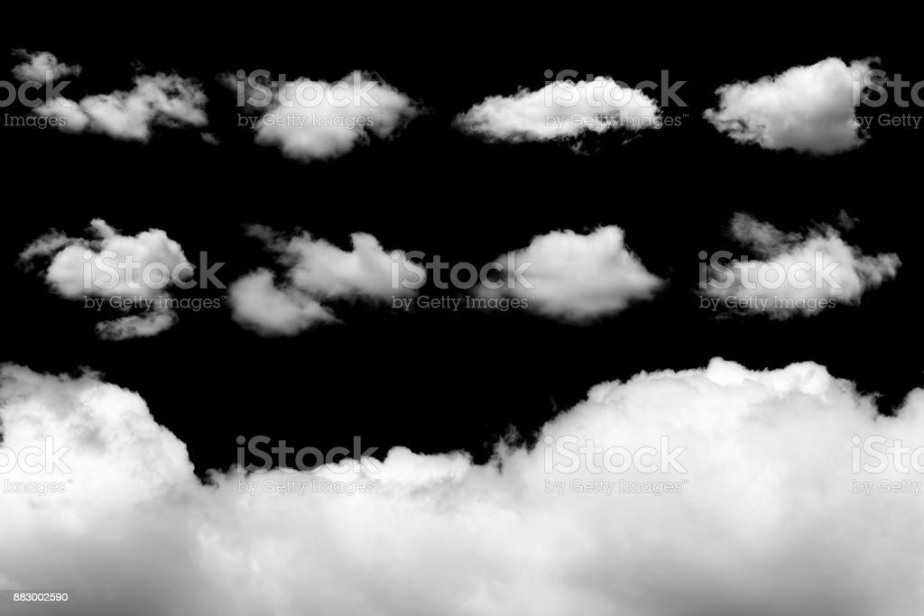 Set of isolated clouds on black stock photo