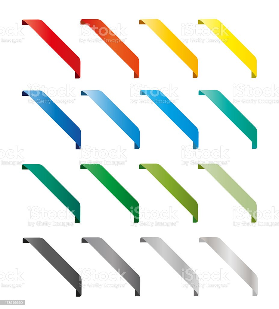 Set of isolated colorful ribbons. Round corners stock photo