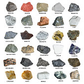 Set of isolated minerals and stones