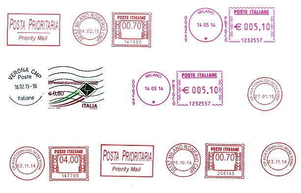 set of  italian postmarks set of  italian postmarks isolated over white postmark stock pictures, royalty-free photos & images