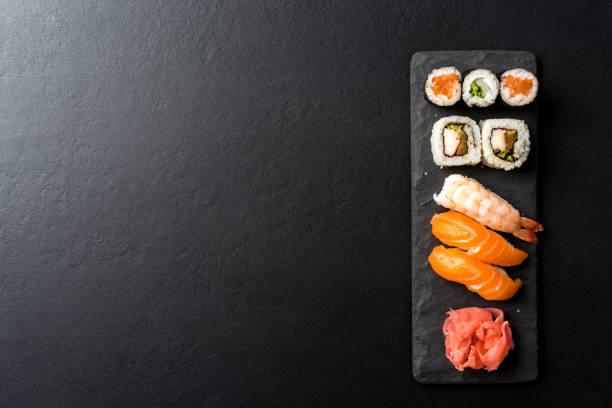 Set of Japanese sushi. stock photo