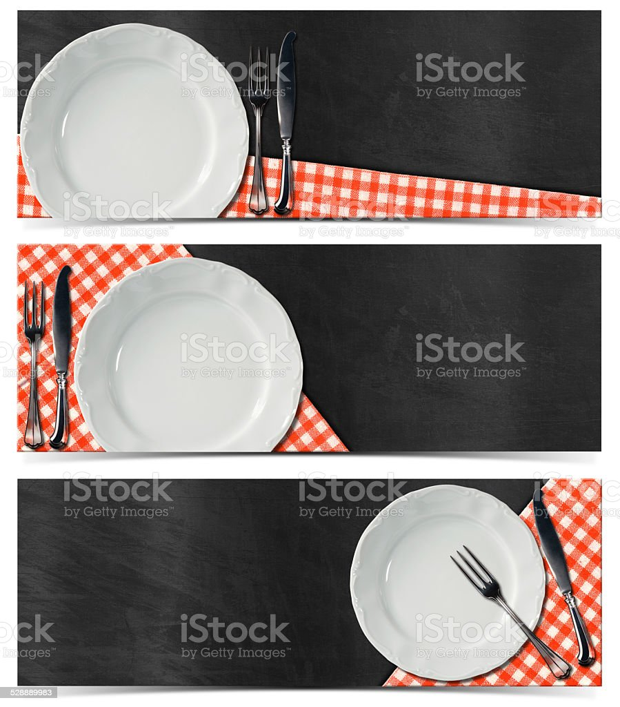 Set of Kitchen Banners with Blackboard stock photo
