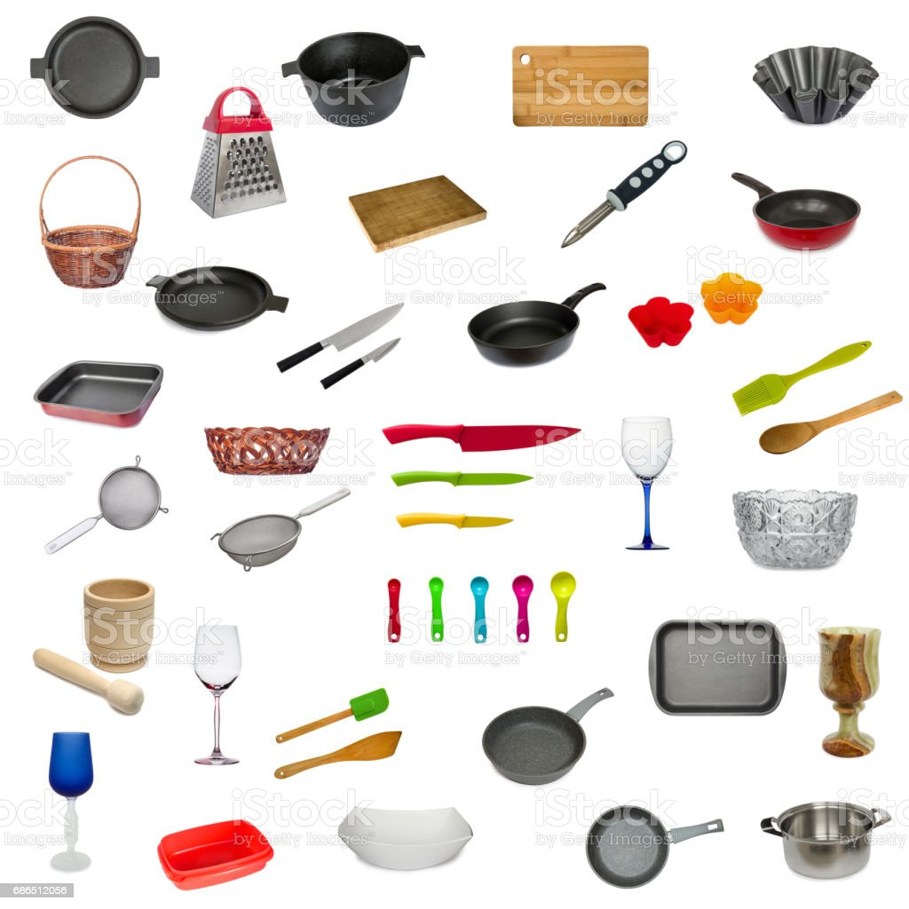 Set of kitchen utensil isolated on white background. Frying pan, cutting board, glass, knife, mug, spoon, sieve, dish, saucepan, mortar, vase, wicker basket and others. royalty free stockfoto
