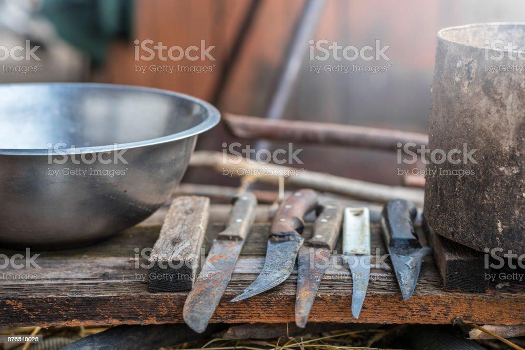A set of knives butcher stock photo