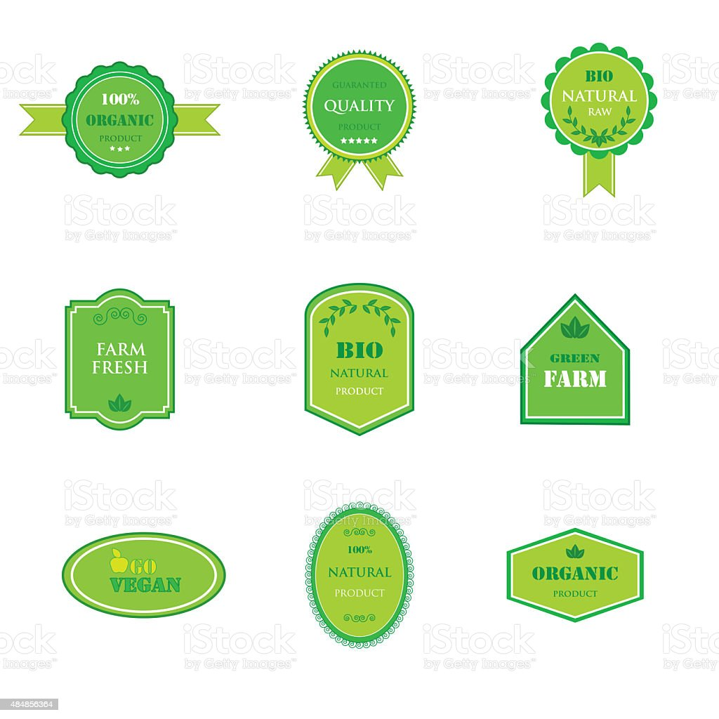 Set of labels for organic and natural food stock photo