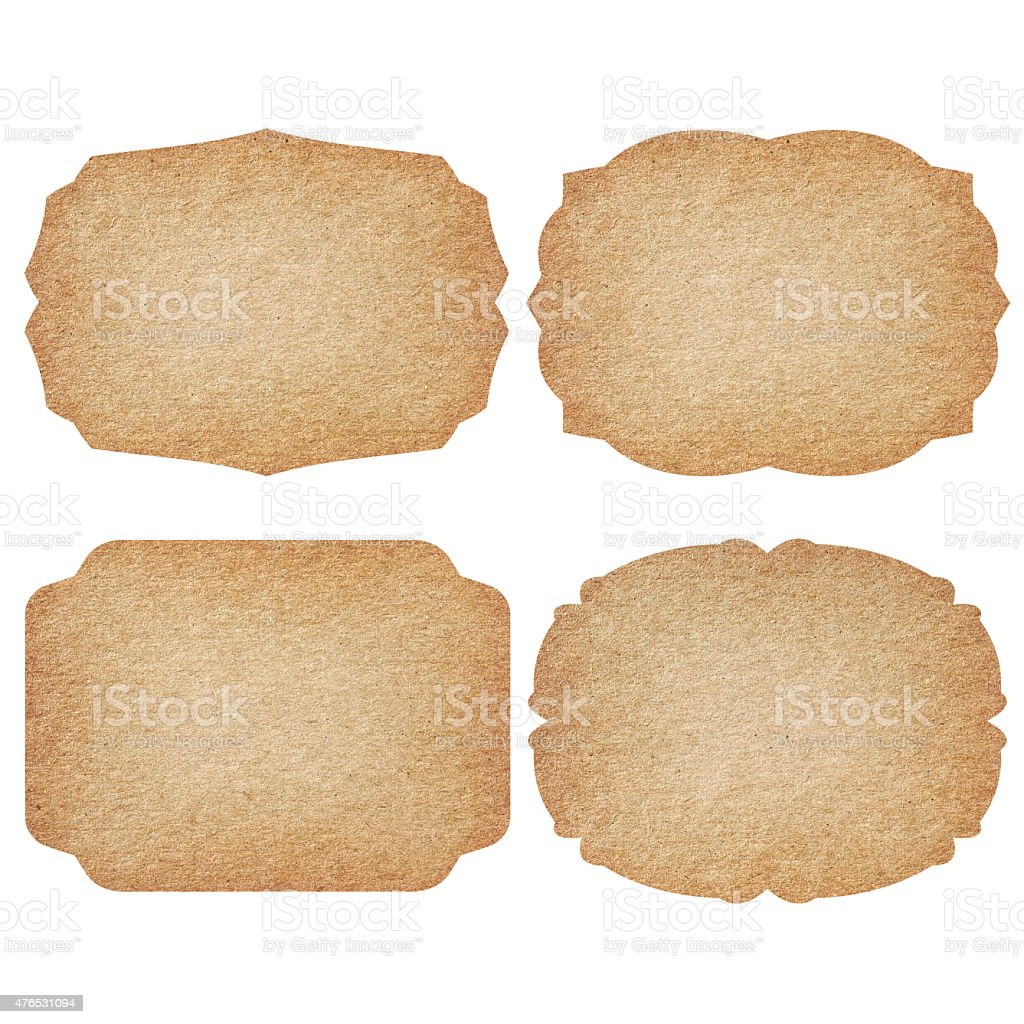 Set of labels from recycled paper. stock photo