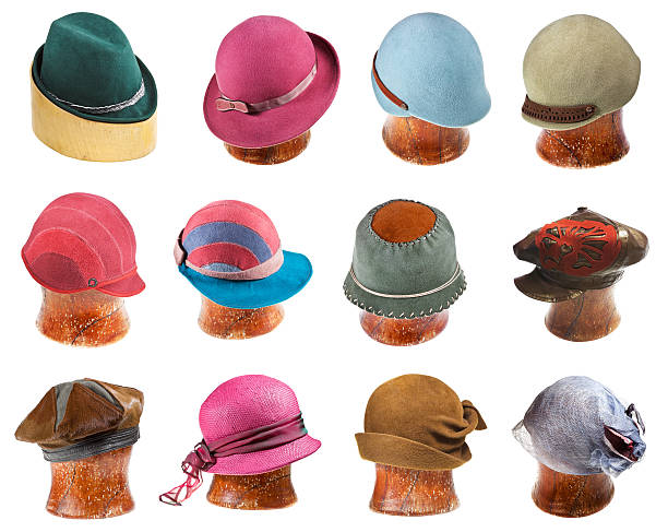 set of ladies felt hats on wooden hat block set of ladies felt hats on wooden hat block isolated on white background bonnet stock pictures, royalty-free photos & images