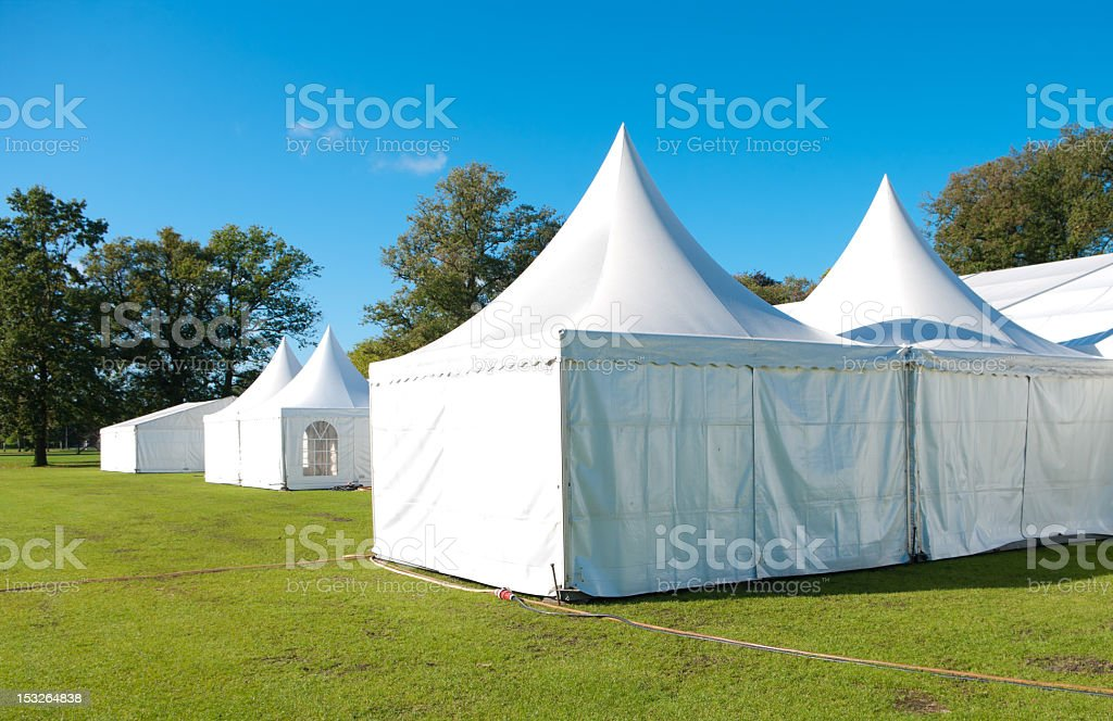 A set of large white event tents stock photo