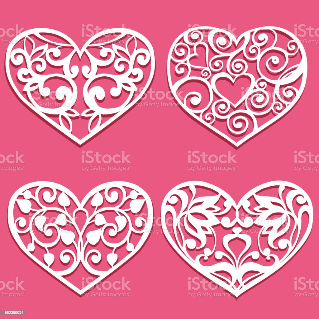 Set Of Laser Cut Hearts Template For Interior Design Layouts