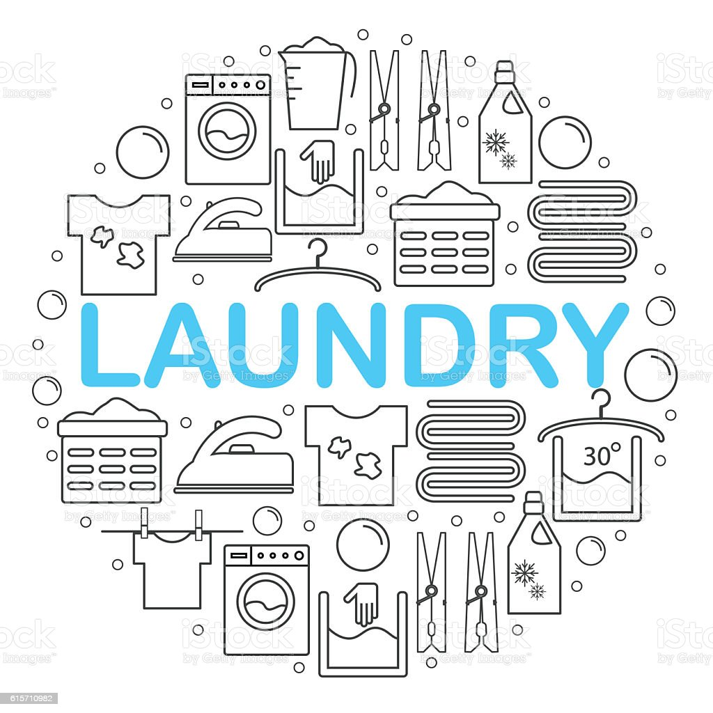 Set of laundry icons. Round banner with laundry icons. stock photo