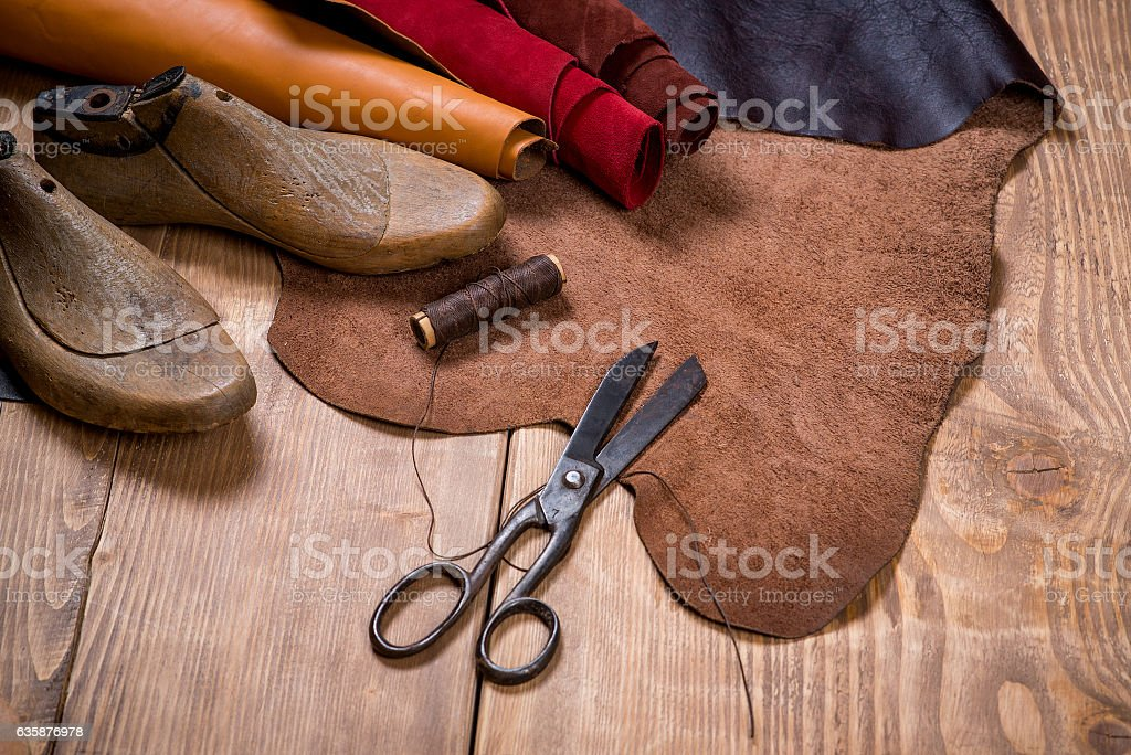 Set Of Leather Craft Tools On Wooden Background Stock Photo More