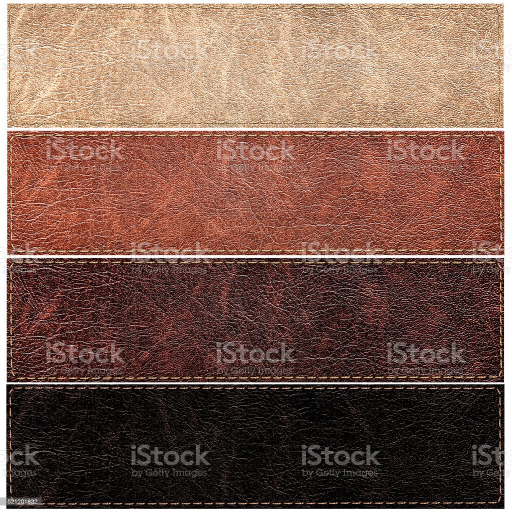 set of leather labels of different colors stock photo