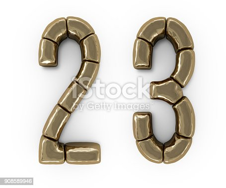 845307450 istock photo Set of letters, numbers and symbols from gold bars. 3D 908589946