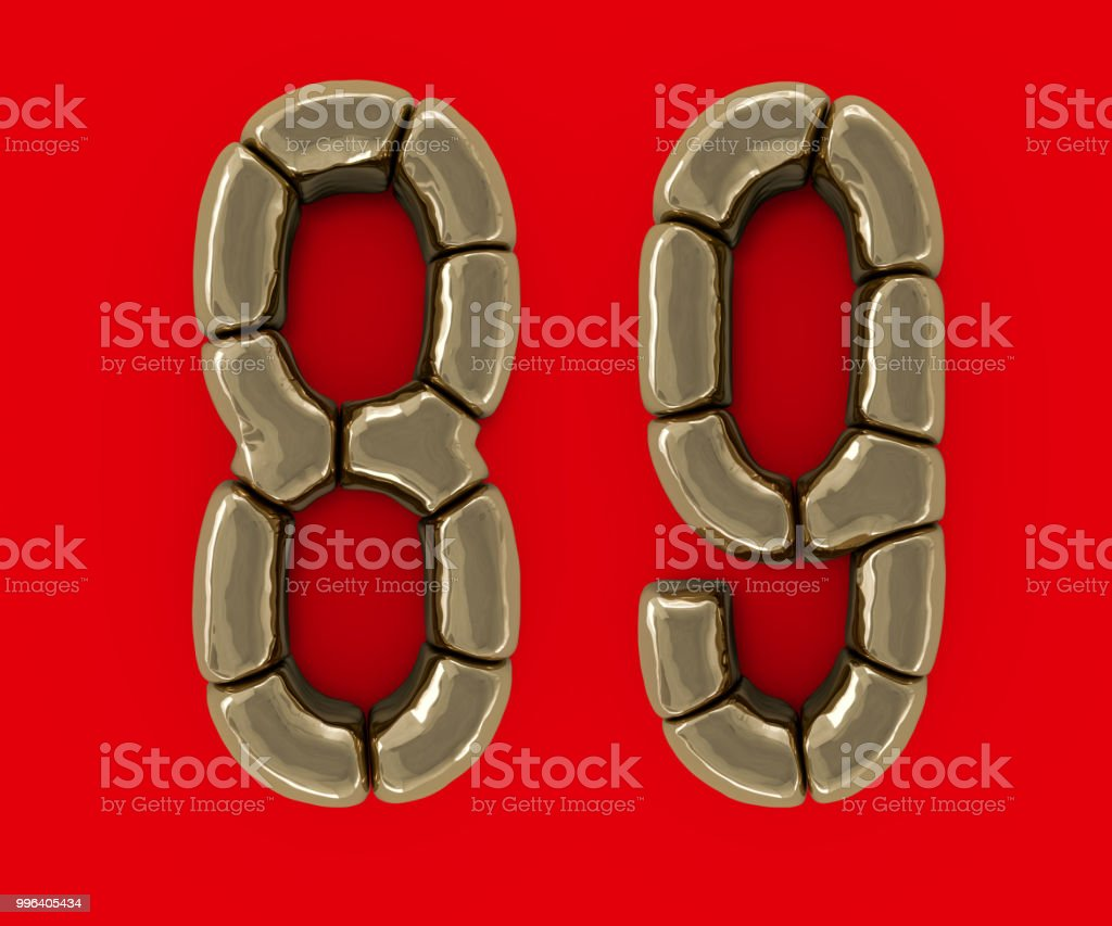 Set of letters, numbers and symbols from gold bars. 3D stock photo