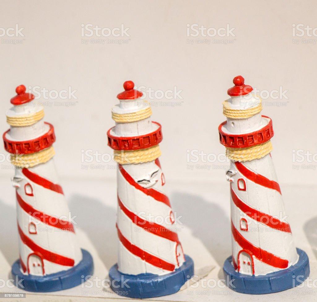 Set of Little model lighthouses stock photo