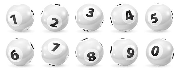 Set of Lottery Black and White Number Balls 0-9 – Foto