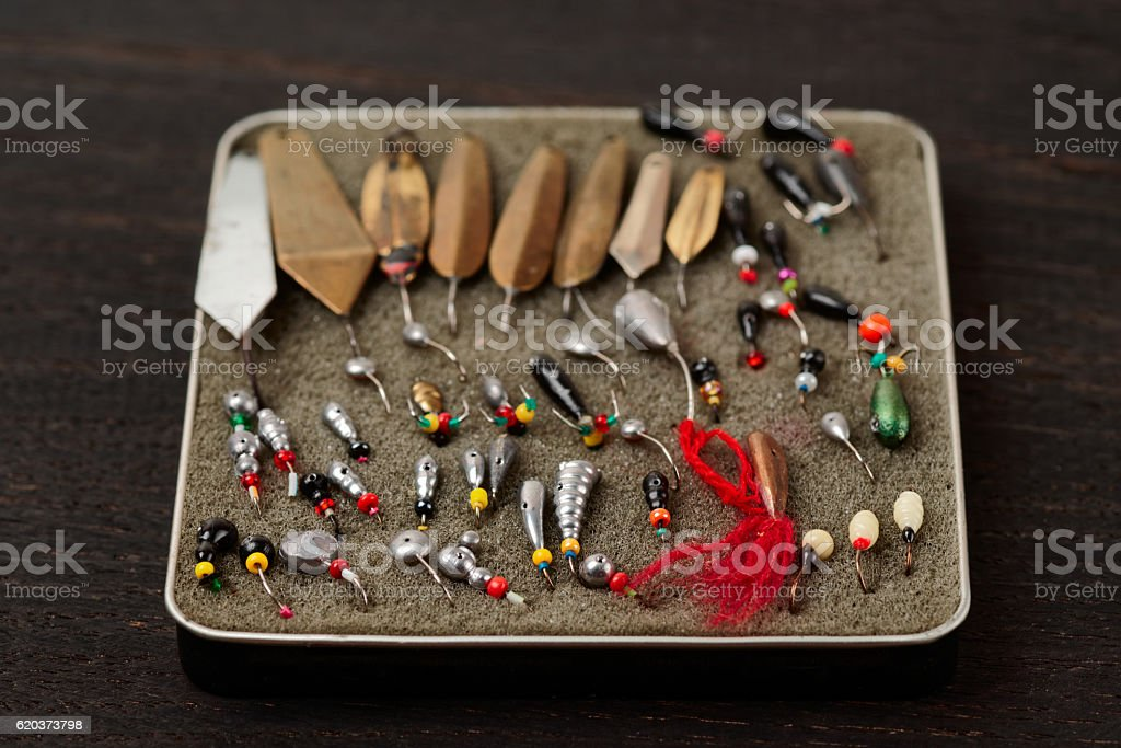 Set of lures for ice fishing foto de stock royalty-free