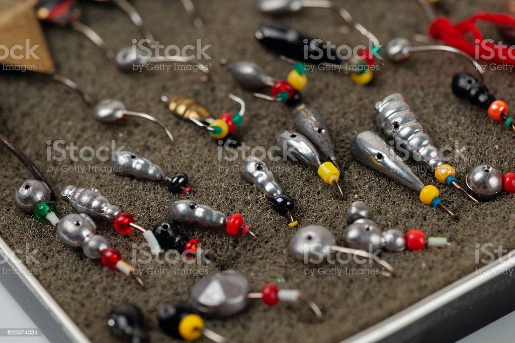 Set of lures for ice fishing zbiór zdjęć royalty-free