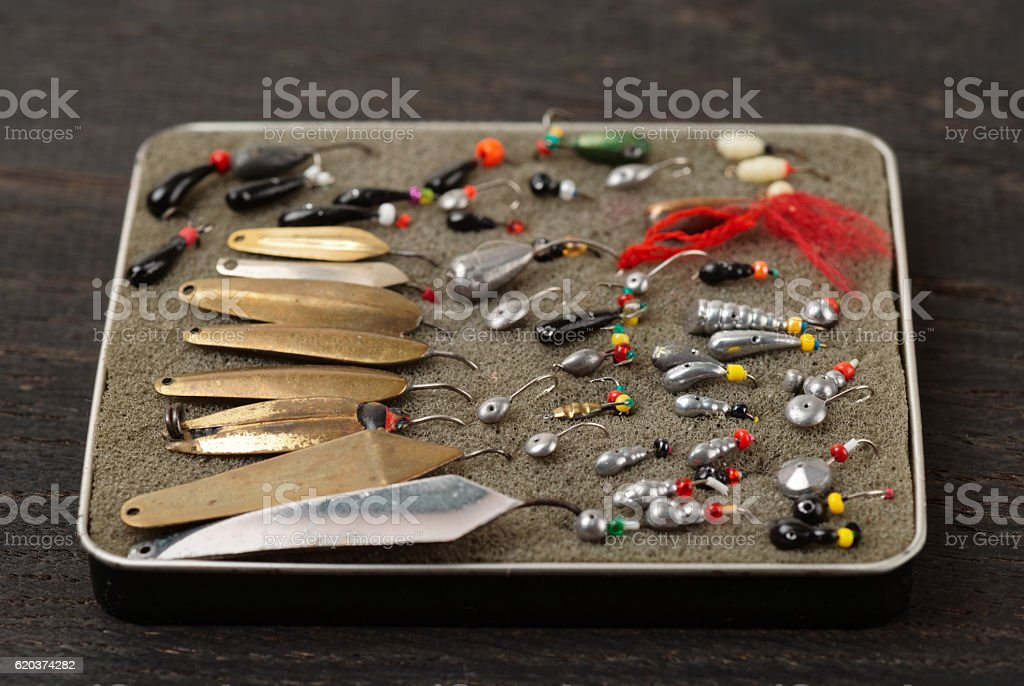 Set of lures for ice fishing stock photo